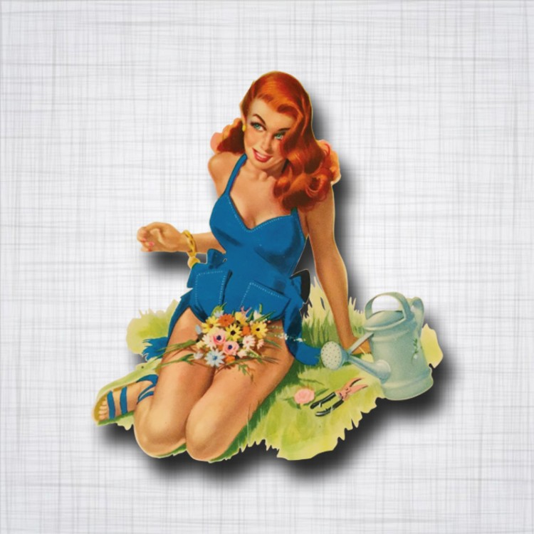 Pin-up sur l'herbe