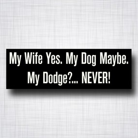 My Wife yes, My dog Maybe, My Dodge Never
