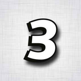 chiffre 3 blanc et noir ht 90mm