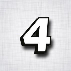 chiffre 4 blanc et noir ht 90mm