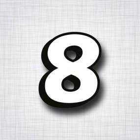 chiffre 8 blanc et noir ht 90mm