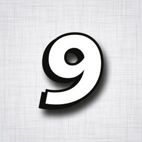 chiffre 9 blanc et noir ht 90mm