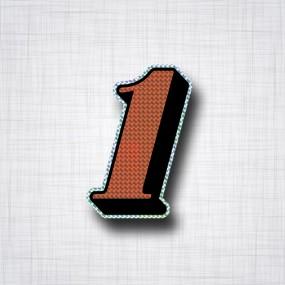 Chiffre 1 Noir et Orange prismatique ht 90mm