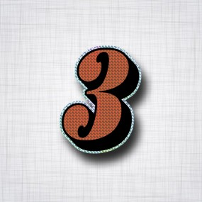 Chiffre 3 Noir et Orange prismatique ht 90mm