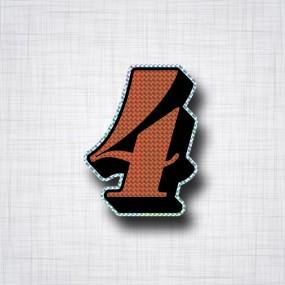Chiffre 4 Noir et Orange prismatique ht 90mm