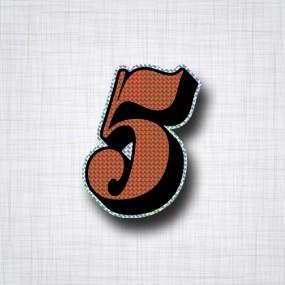 Chiffre 5 Noir et Orange prismatique ht 90mm
