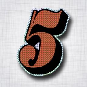 Chiffre 5 Noir et Orange prismatique ht 140mm