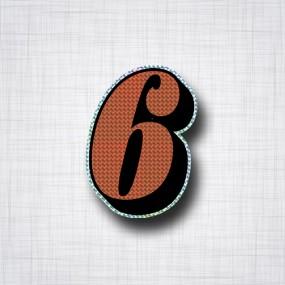 Chiffre 6 Noir et Orange prismatique ht 90mm