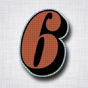 Chiffre 6 Noir et Orange prismatique ht 140mm