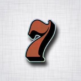 Chiffre 7 Noir et Orange prismatique ht 90mm