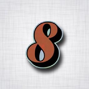 Chiffre 8 Noir et Orange prismatique ht 90mm