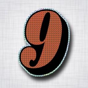 Chiffre 9 Noir et Orange prismatique ht 140mm