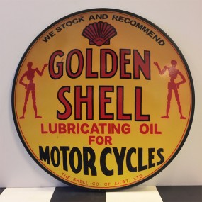Plaque publicitaire Golden Shell for Motorcycles