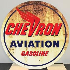 Plaque publicitaire CHEVRON AVIATION Gasoline
