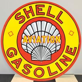 Plaque publicitaire SHELL GASOLINE AVIATION