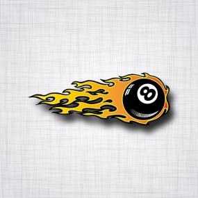 Sticker Eight Ball Flamme Droit